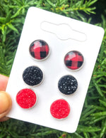 Buffalo Plaid Druzy Stud Trio Earrings