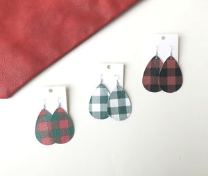 Christmas Buffalo Plaid Leather Teardrop