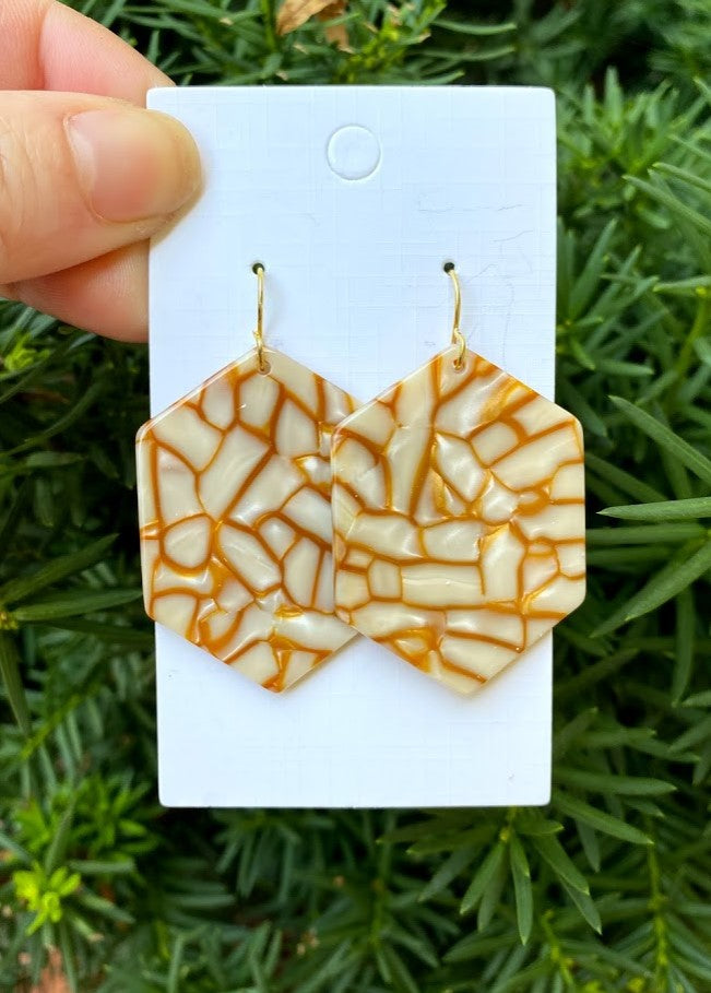 Butterscotch Hex Acrylic Earrings
