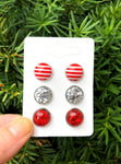 Red Stripe Stud Trio Earrings