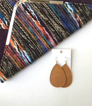 Caramel Teardrop Leather Earrings