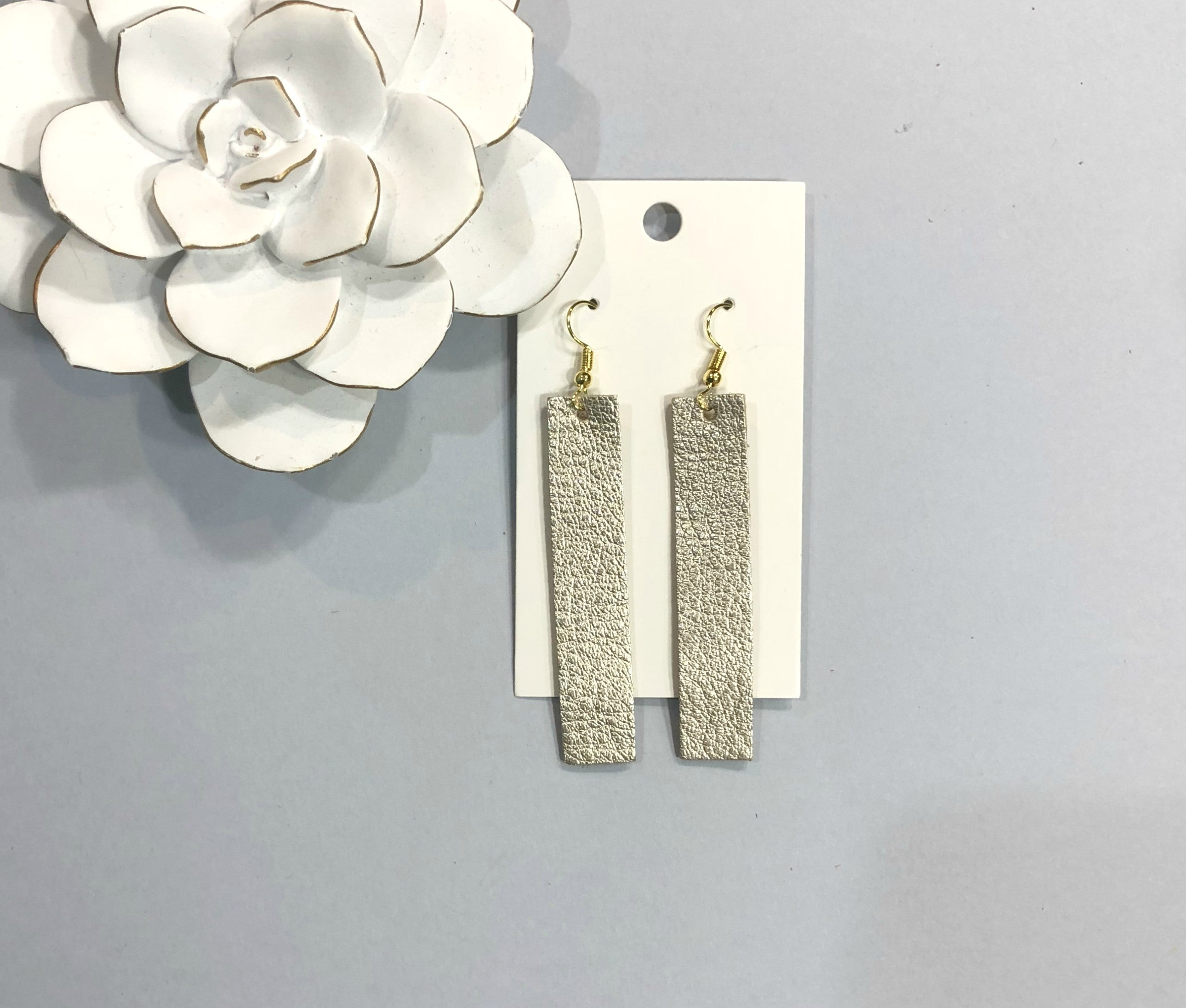 Champagne Rectangle Leather Earrings