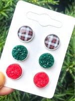 Christmas Plaid Stud Trio Earrings