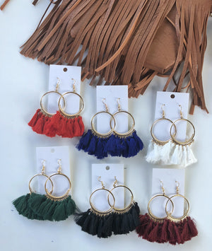 Black Circle Tassel Earrings