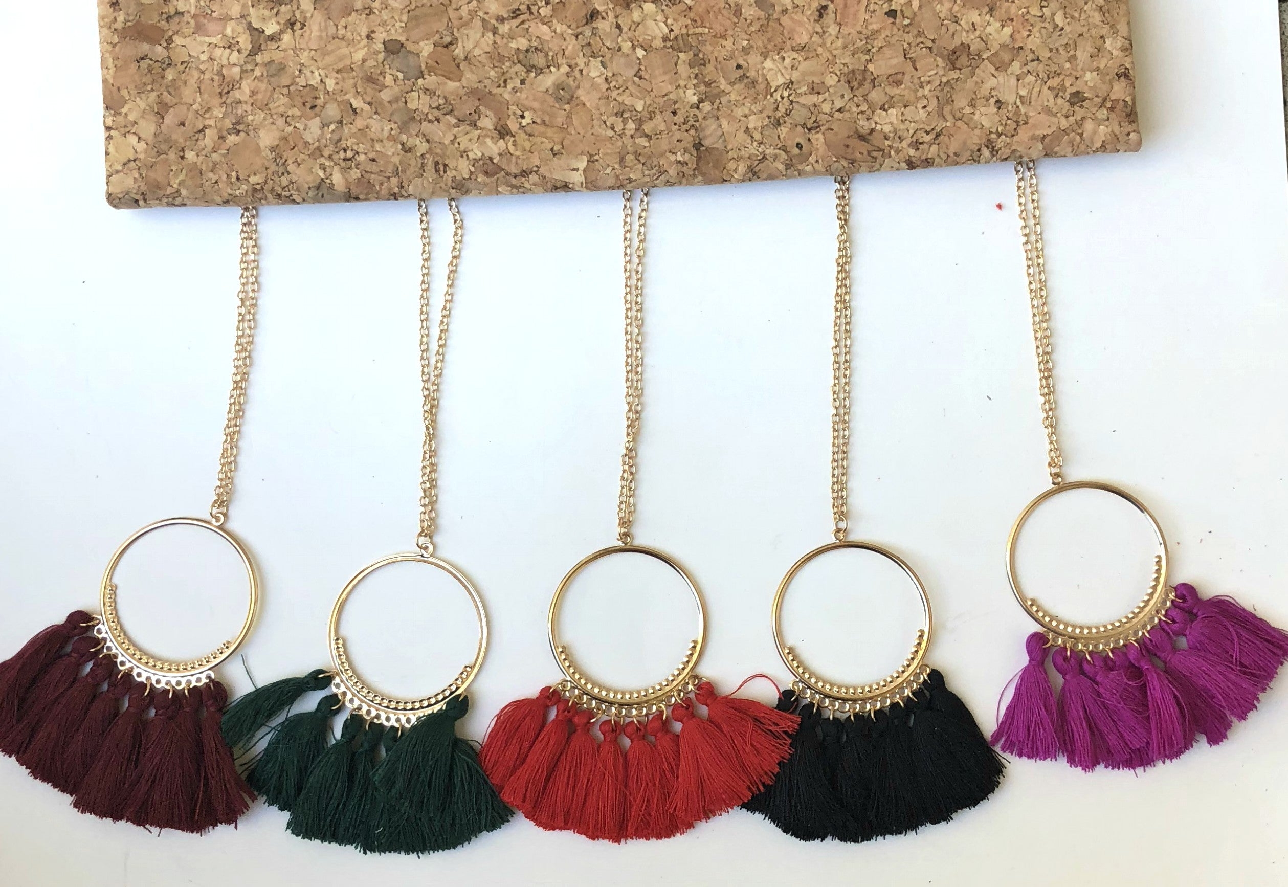 Red Circle Tassel Necklace