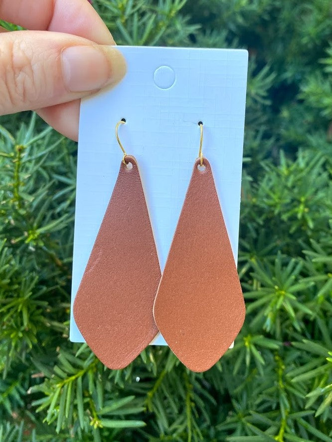 The Em Cognac Leather Earrings