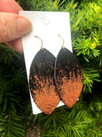 Copper Glitter Ombre Leather Earrings