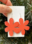 Coral Blossom Leather Earrings