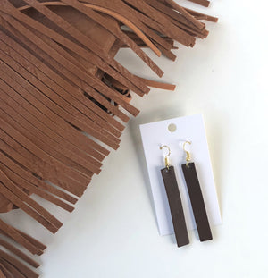 Dark Brown Rectangle Leather Earrings