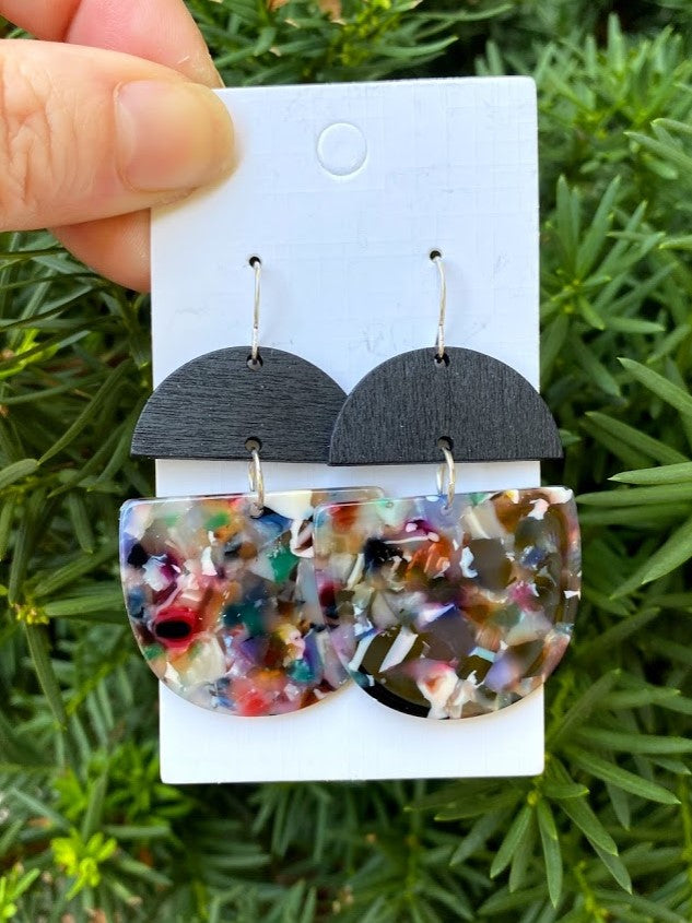 Dark Multi-Color Acrylic and Wood Deco Drops