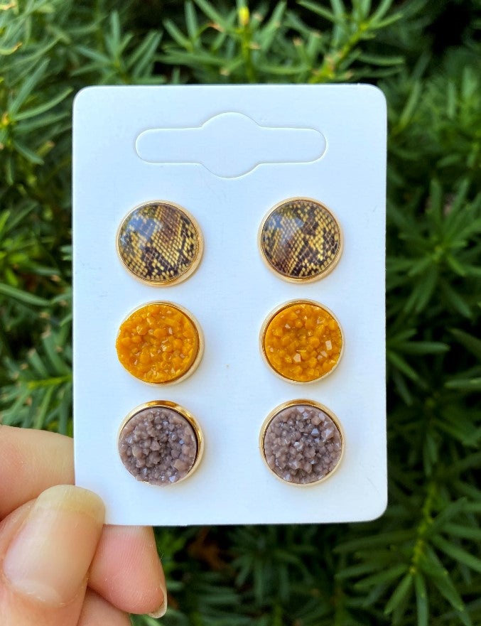 Desert Snake Druzy Stud Trio Earrings