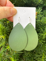 Olive Green Teardrop Leather Earrings