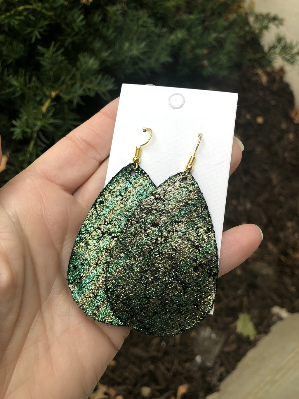Enchanted Lagoon Shimmer Leather Teardrop