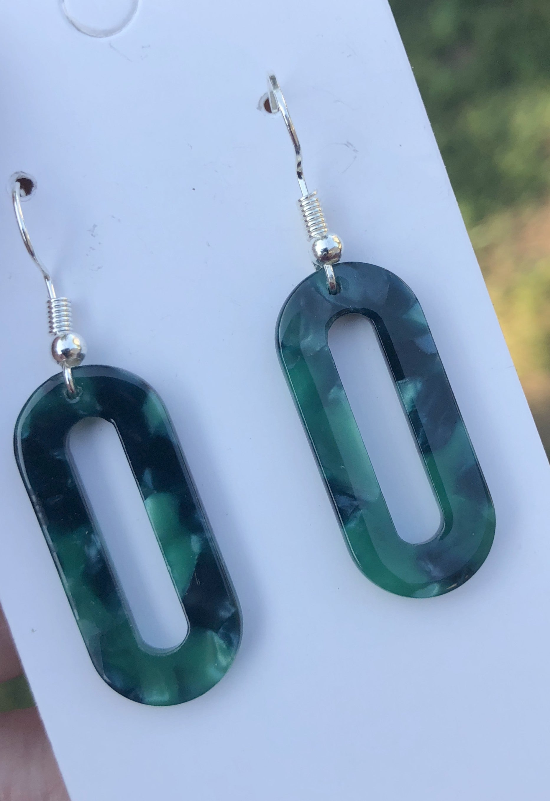 Blue Green Acrylic Small Oval Earrings