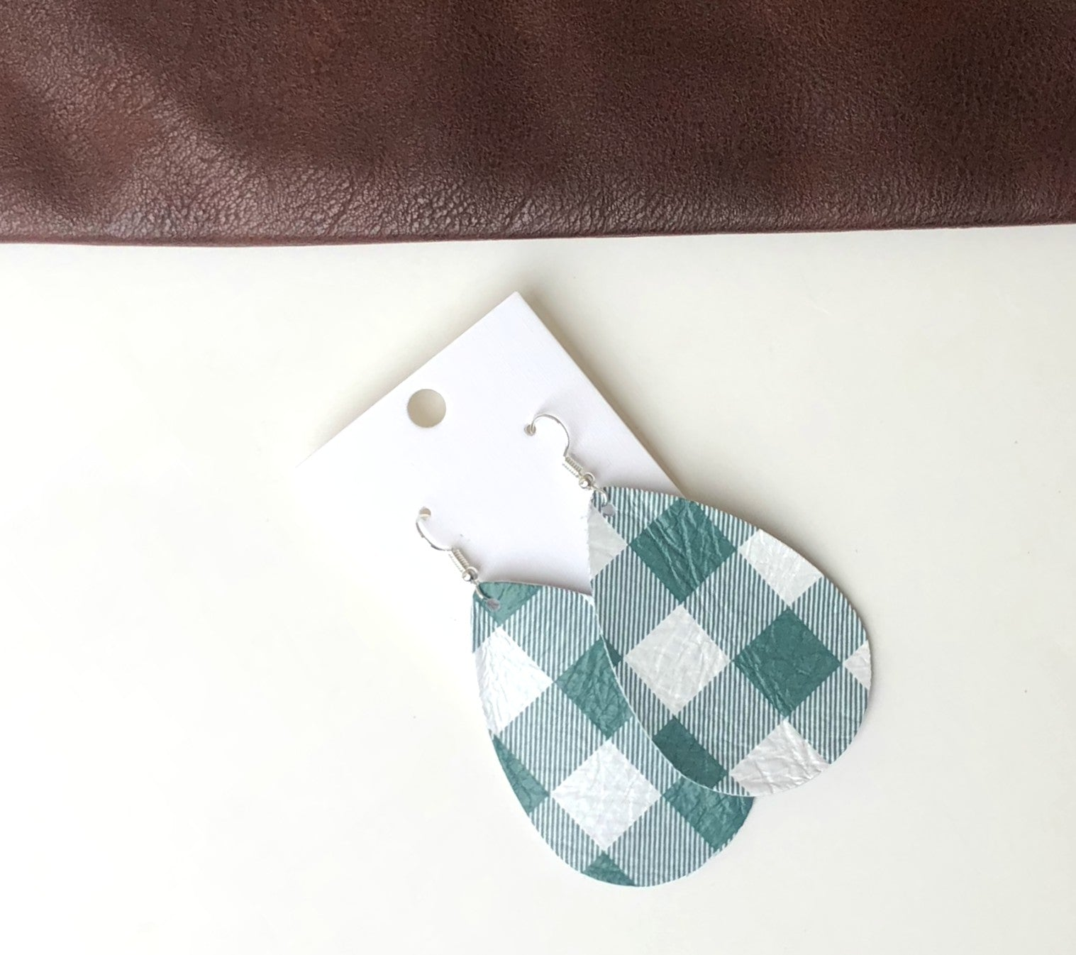 Green White Buffalo Plaid Leather Teardrop