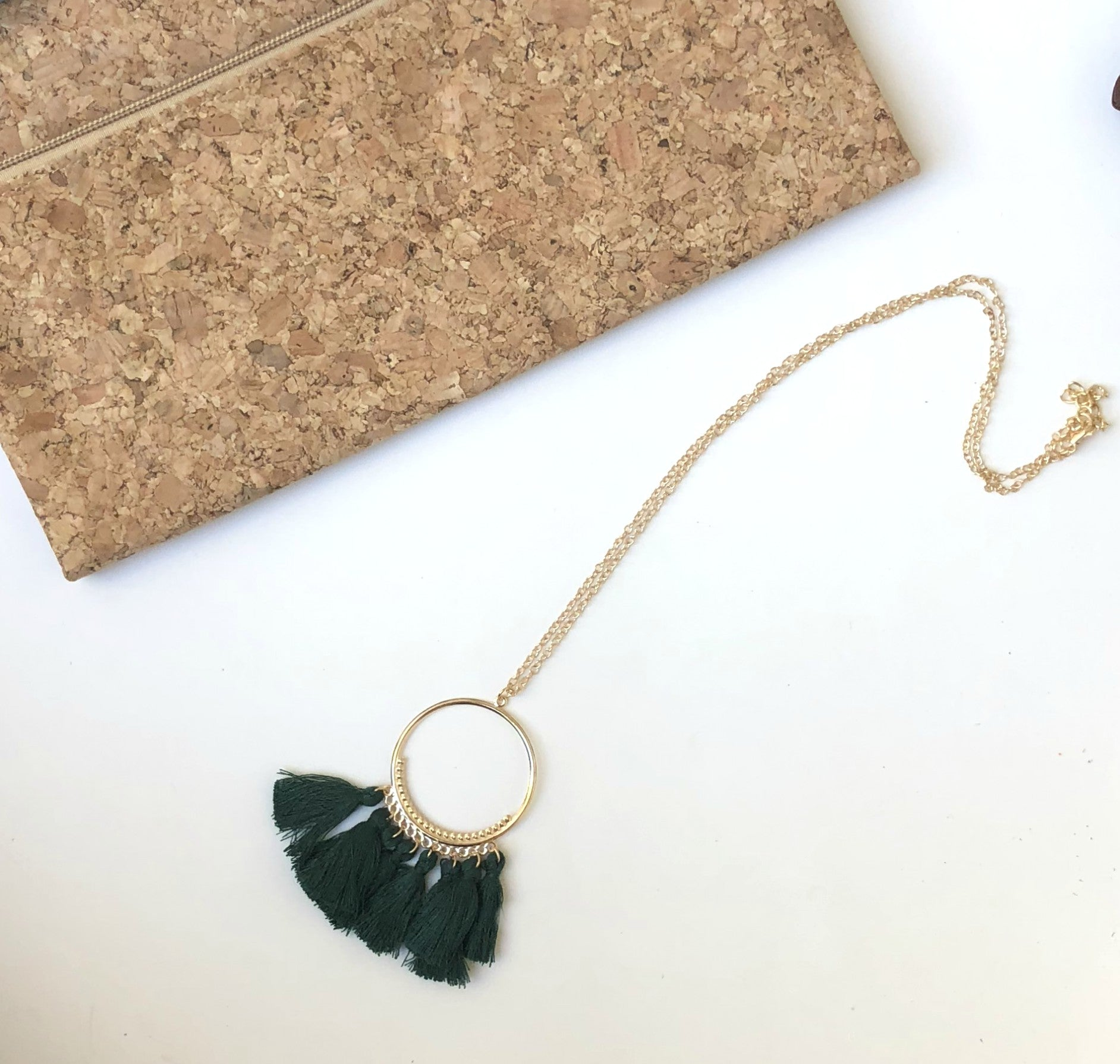Emerald Green Circle Tassel Necklace