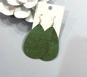 Green Corkleather Teardrop Earrings