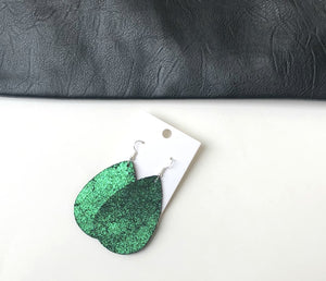 Green Shimmer Leather Teardrop