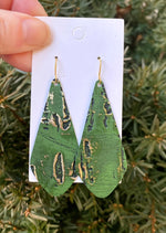 Green Gold Rustic Em Leather Earrings