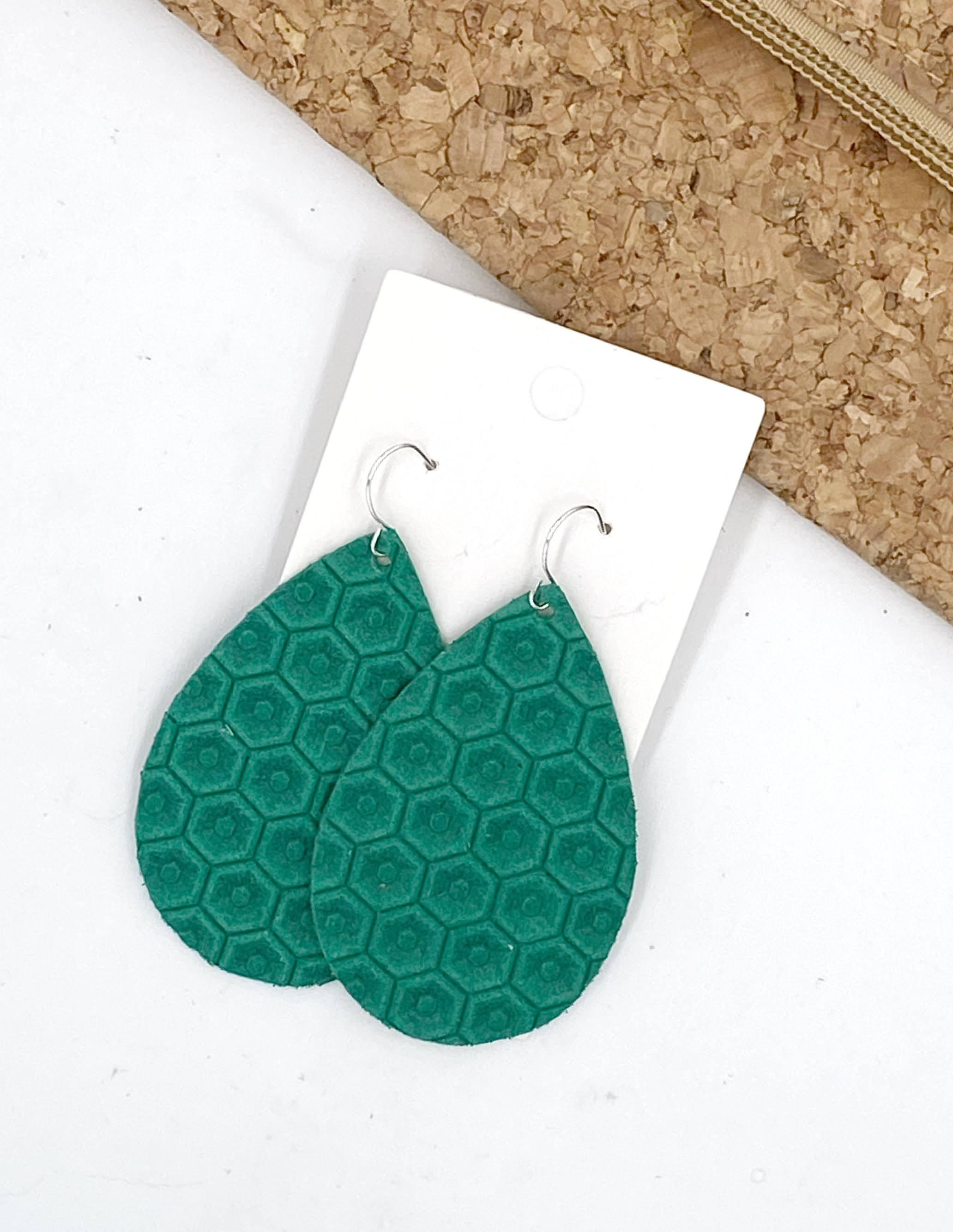 Green Honeycomb Embossed Leather Teardrop