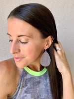 Grey Etched Leather Teardrop Earrings