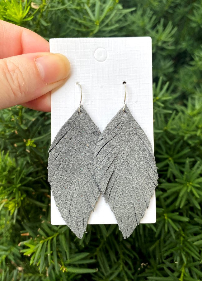 Grey Suede Leaf Fringe Earrings