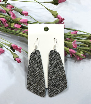 Gunmetal Geo Leather Earrings