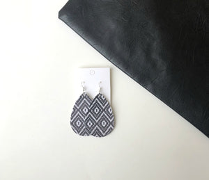Black and White Ikat Faux Leather