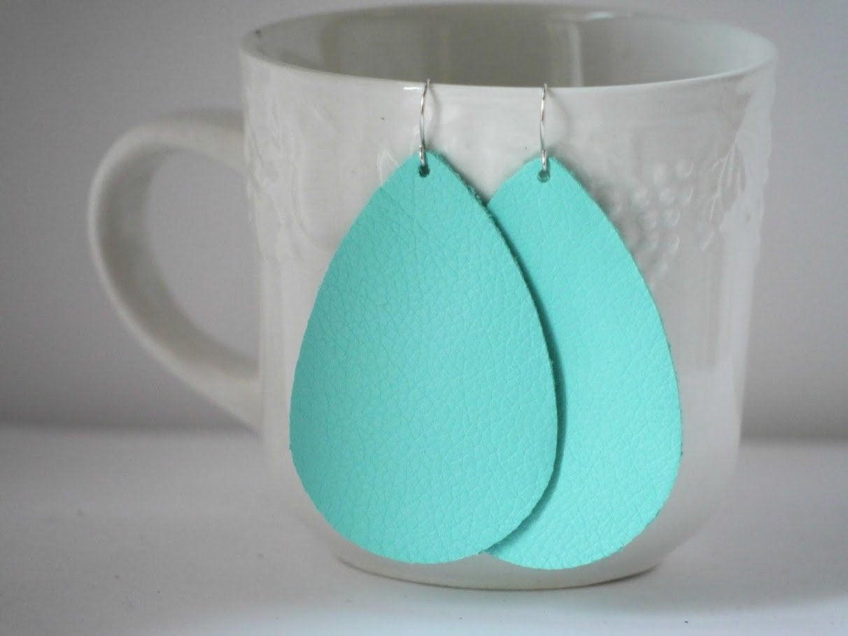 Island Paradise Pantone Tiffany Blue Teal Blue Turquoise Bright Blue Teardrop Drop Leather Earrings