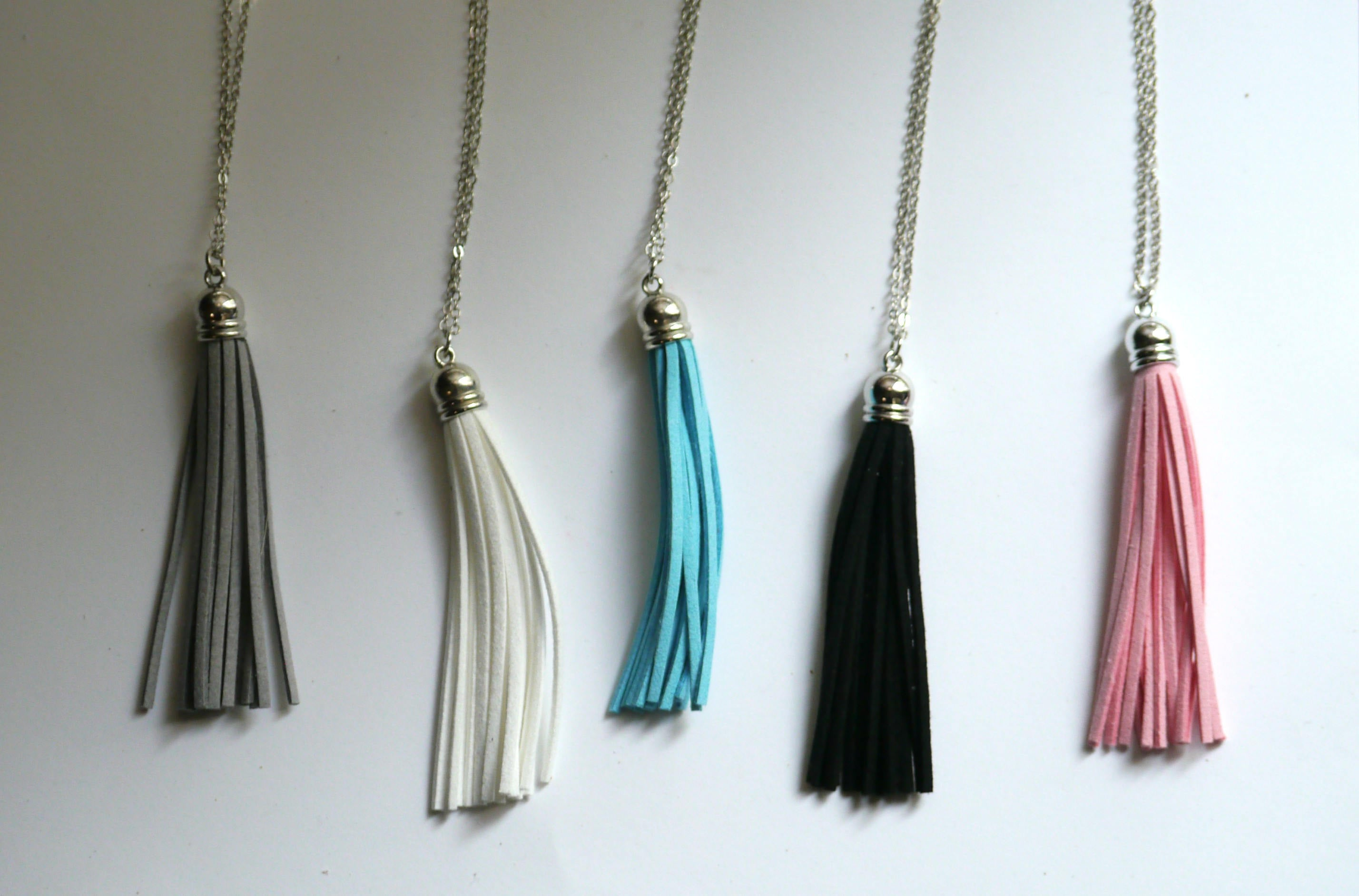 Black Faux Suede Leather Tassel Necklace Silver