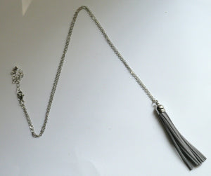 Gray Grey Silver Tassel Pendant Long Necklace Faux Suede Leather