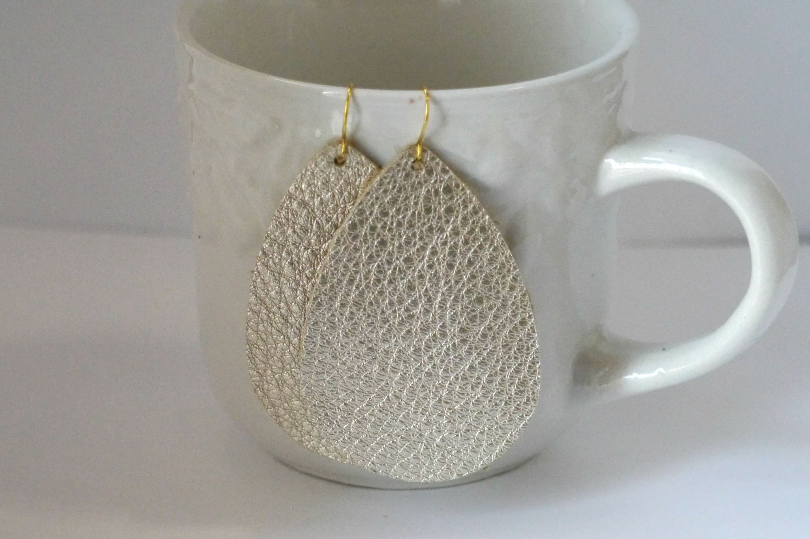 Champagne Metallic Leather Teardrop Drop Earrings