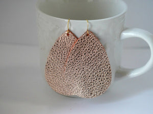 Rose Gold Leather Teardrop Drop Earrings