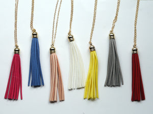 Turquoise Teal Blue Tassel Pendant Long Necklace Faux Suede Leather