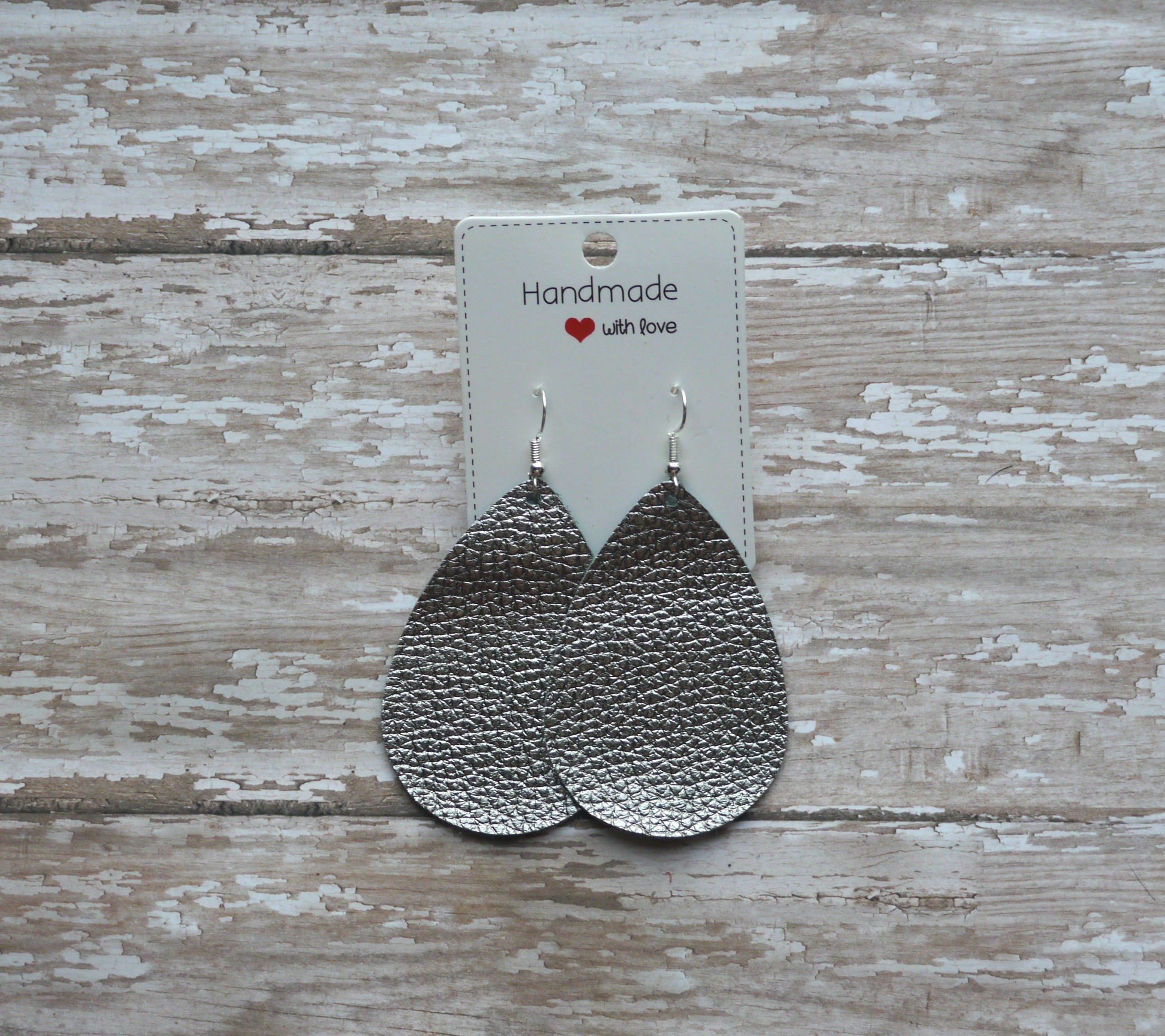 Dark Silver Metallic Leather Teardrop Drop Earrings
