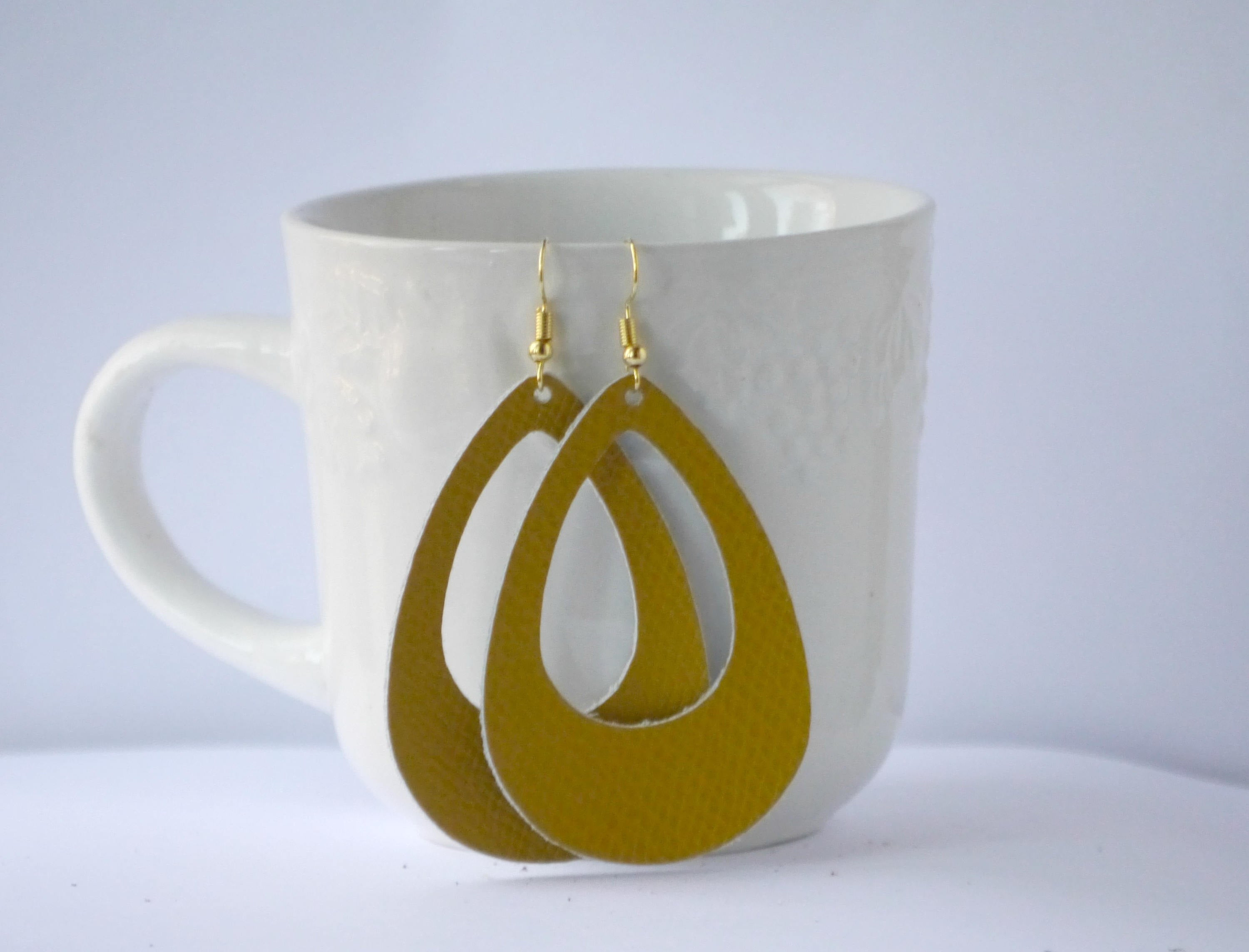 Mustard Yellow Saffiano Cutout Cut Out Leather Teardrop Drop Earrings