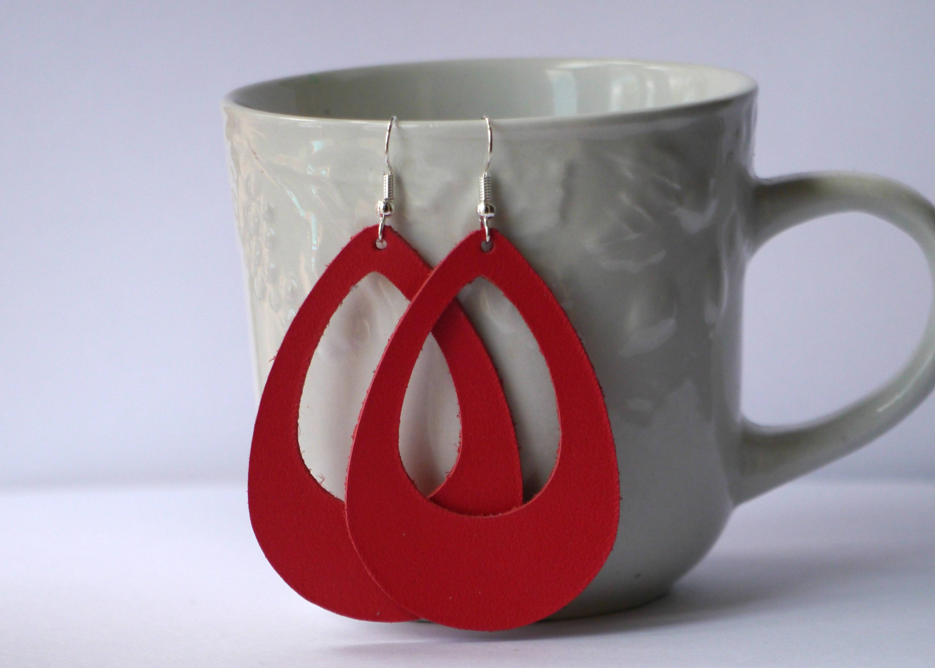 Grenadine Red Cutout Cut Out Leather Teardrop Drop Earrings