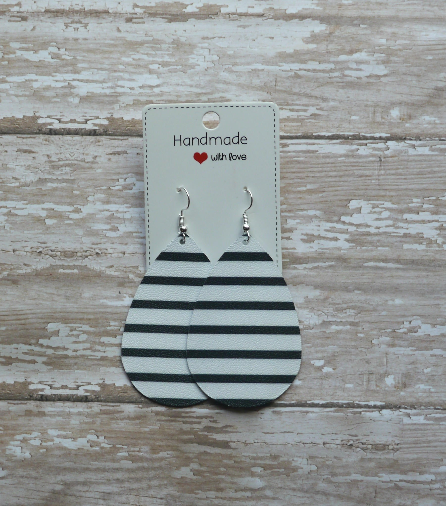 Black White Stripe Teardrop Drop Leather Earrings