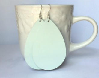 Hint of Mint Mint Green Textured Leather Teardrop Drop Earrings