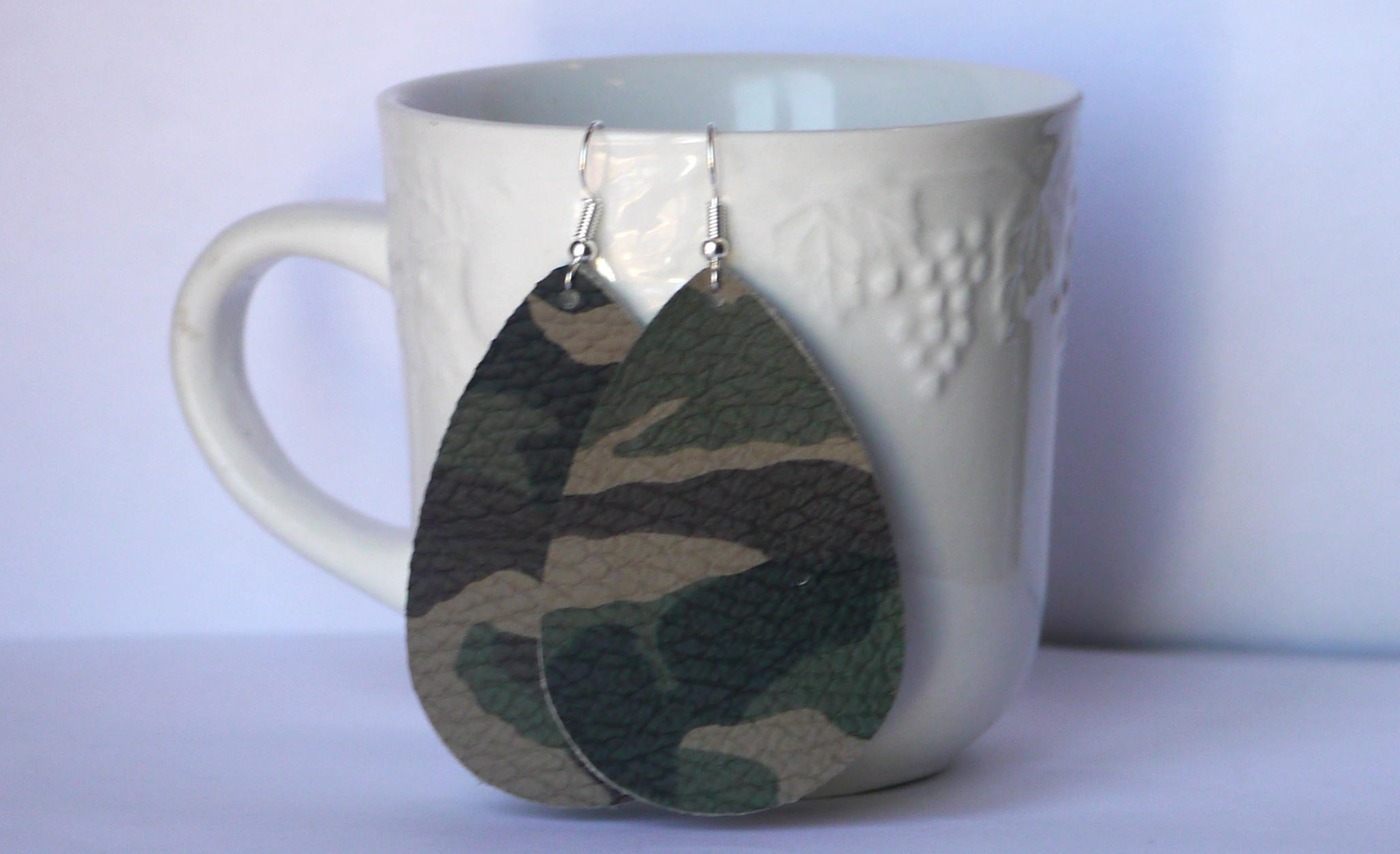 Camo Camouflage Brown Green Teardrop Drop Leather Earrings