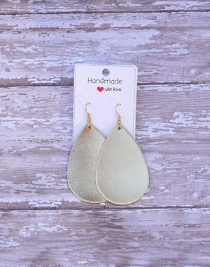 Gold Shiny Metallic Leather Teardrop Drop Earrings