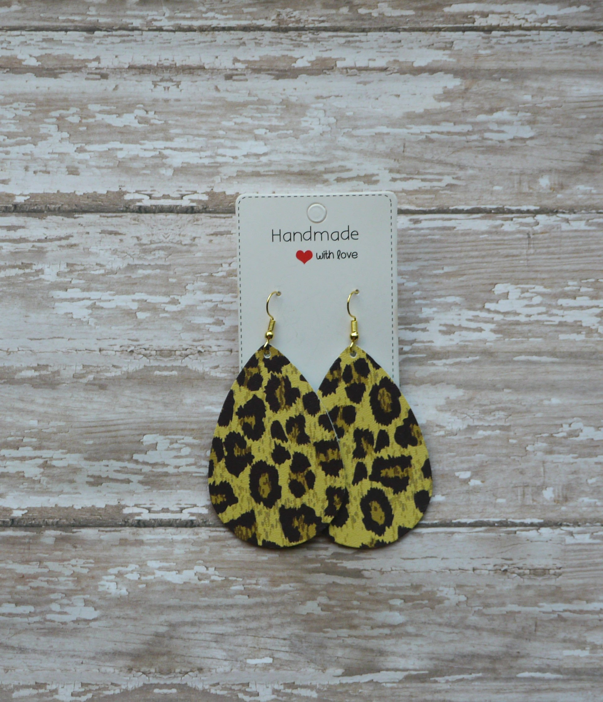Leopard Animal Print Cheetah Brown Teardrop Drop Earrings