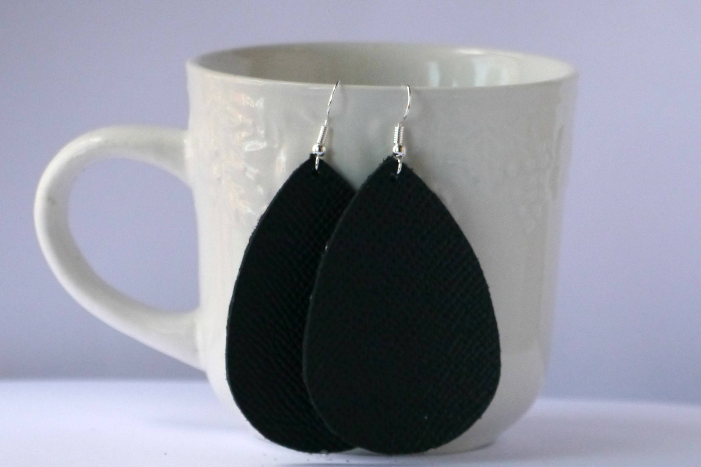 Black Saffiano Leather Teardrop Drop Earrings