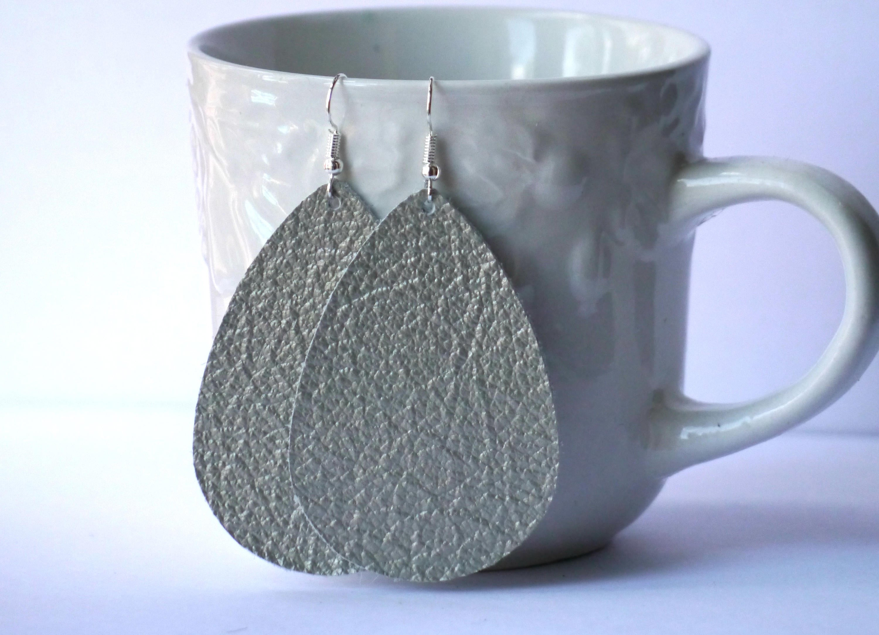 Platinum Silver Metallic Leather Teardrop Drop Earrings