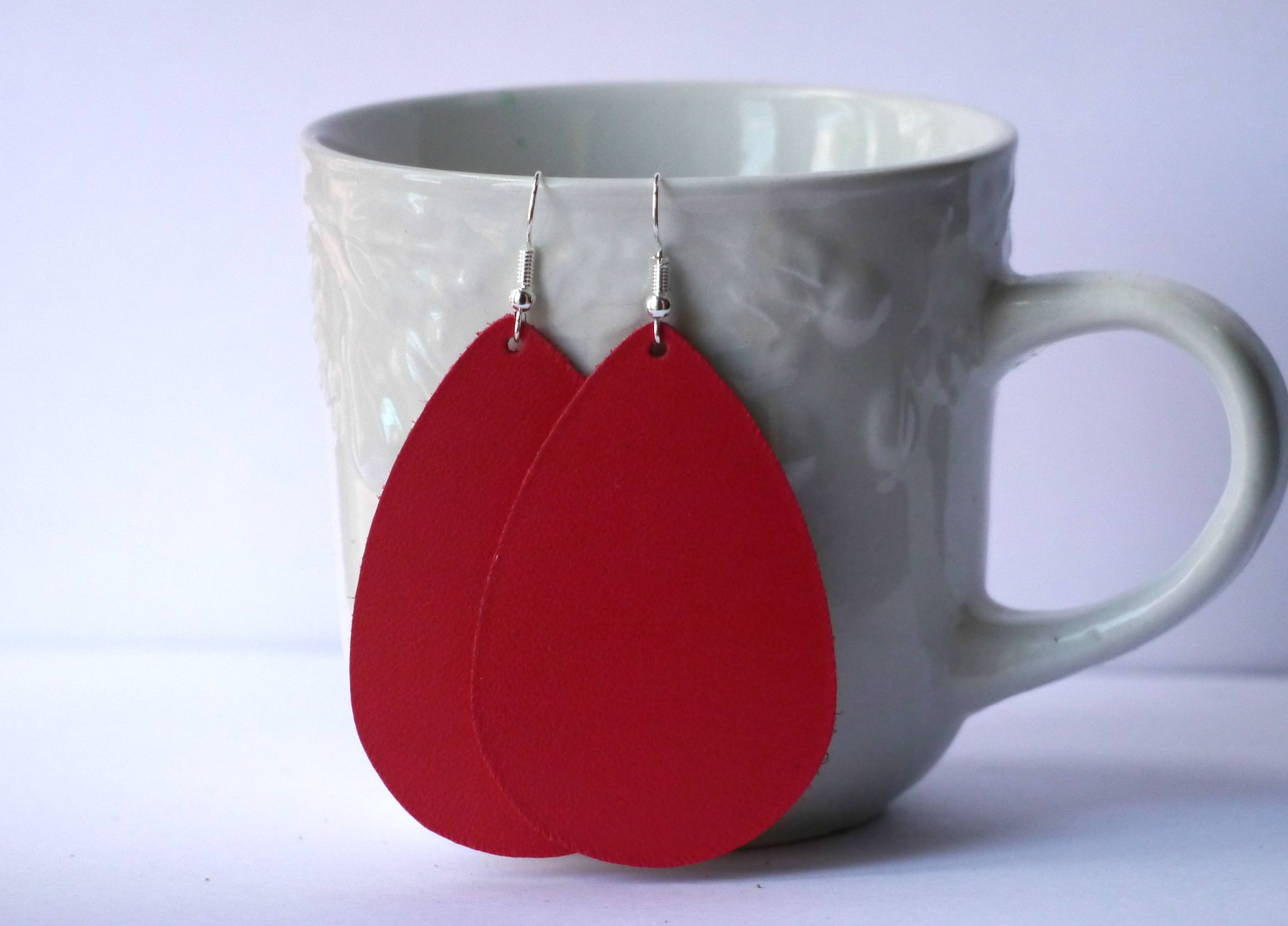 Grenadine Red Leather Teardrop Drop Earrings