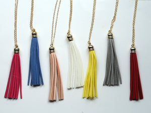 Red Gold Tassel Pendant Long Necklace Faux Suede Leather