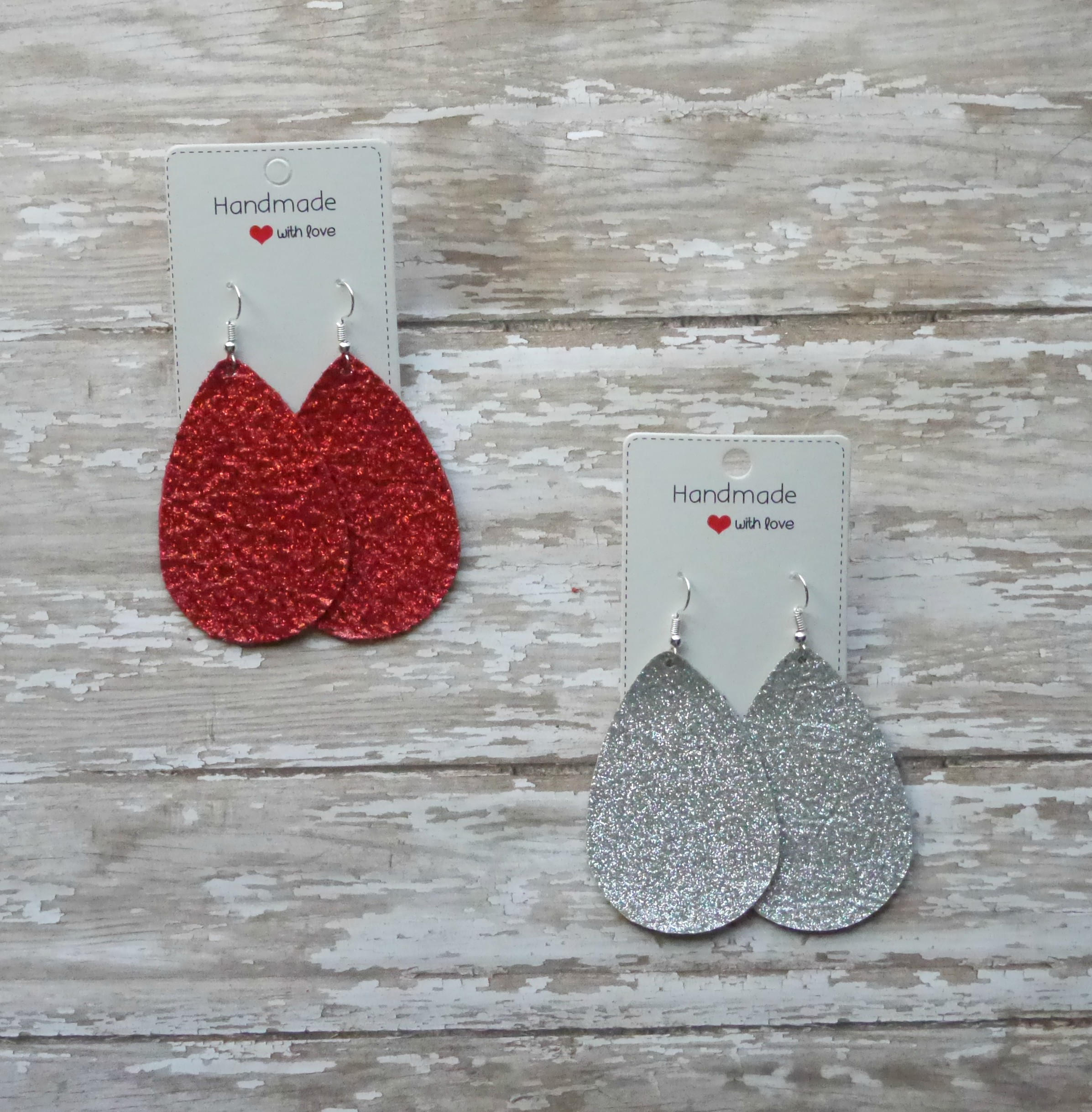 Silver Glitter Sparkle Shimmer Leather Teardrop Drop Earrings
