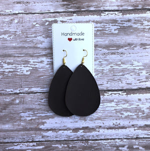 Emperador Pantone Brown Chocolate Smooth Leather Teardrop Drop Earrings