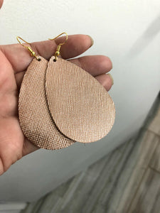 Rose Gold Saffiano Leather Teardrop Drop Earrings