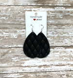 Black Quilted Diamond Leather Teardrop Drop Earrings